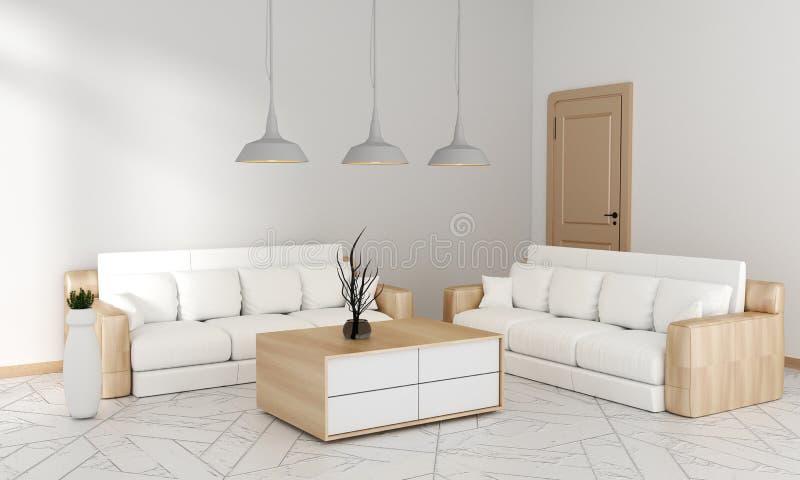 假装沙发在嘲笑的客厅日本现代样式,3D翻译 库存例证