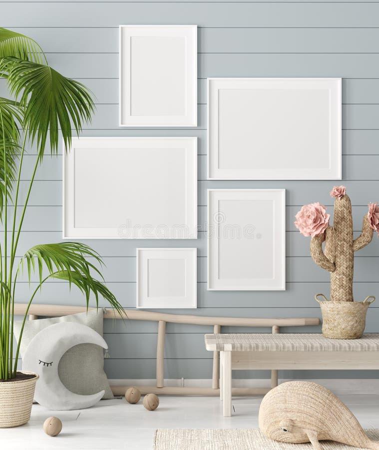 假装海报在儿童居室背景中,有自然柳条和木玩具的淡色室 库存例证