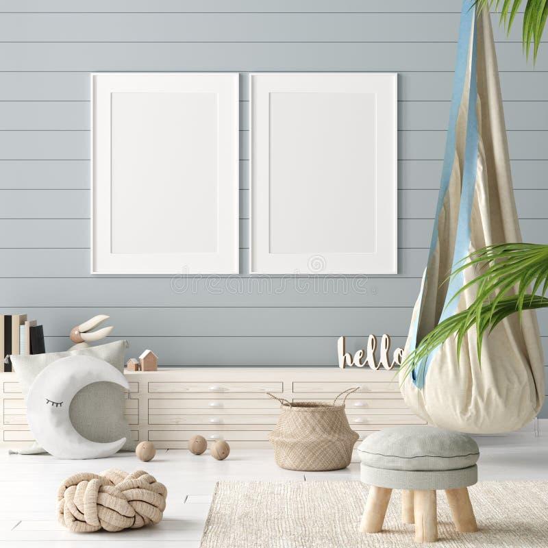 假装海报在儿童居室背景中,有自然柳条和木玩具的淡色室 向量例证