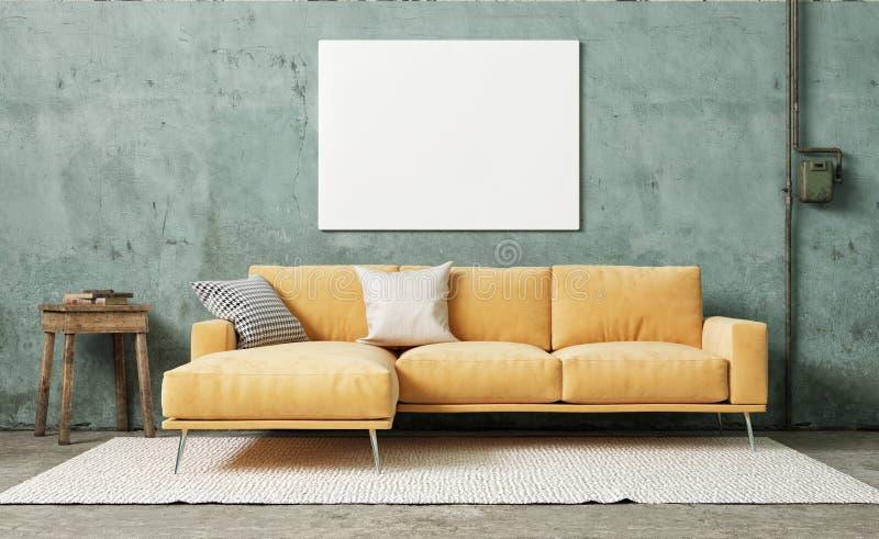 假装海报在葡萄酒屋子,有减速火箭的膏药墙壁的橙色沙发里
