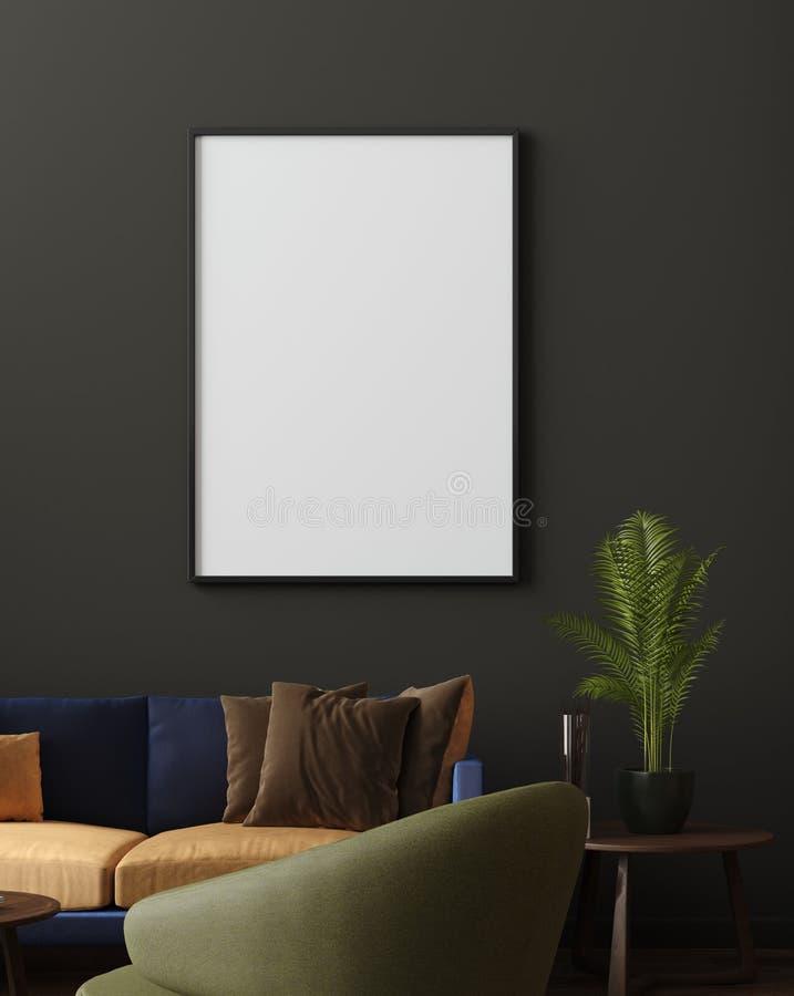 假装海报在豪华现代客厅内部、深绿棕色墙壁、现代沙发和植物中 皇族释放例证