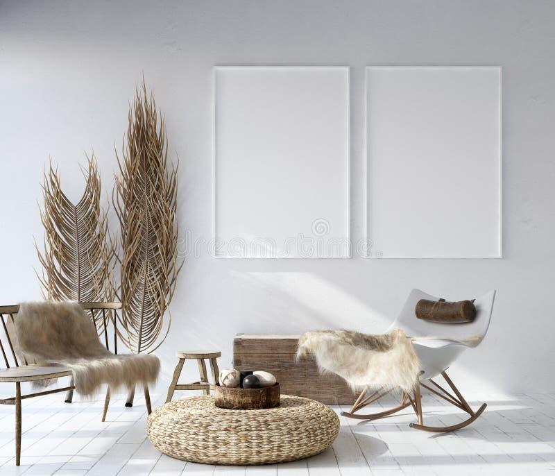 假装海报框架在家庭内部背景,漂泊样式客厅中 皇族释放例证