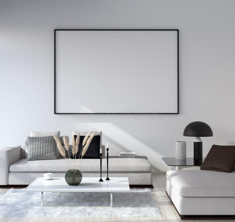 假装海报框架在家庭内部背景,现代样式客厅中 免版税库存照片