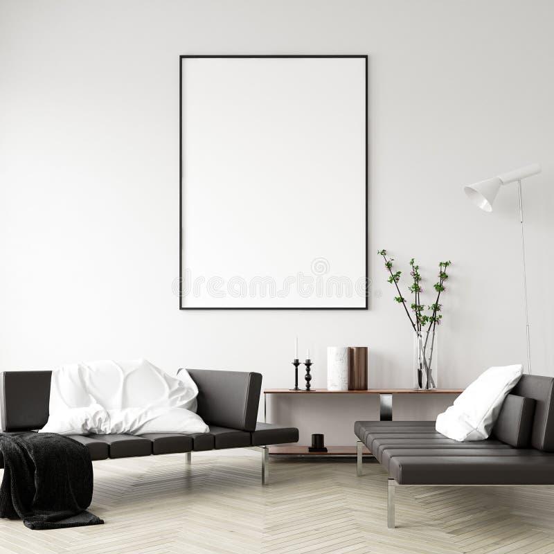 假装海报框架在家庭内部背景,现代样式客厅中 库存图片
