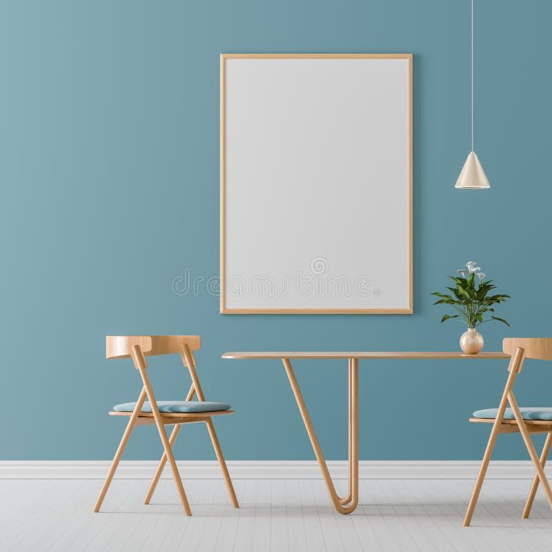 假装海报框架在有木椅子和桌的宽敞现代餐厅 r 3d?? 库存例证