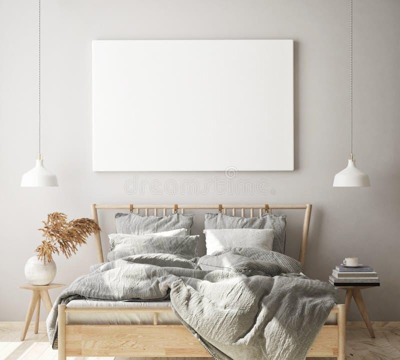假装海报框架在现代卧室内部背景,客厅,斯堪的纳维亚样式,3D中回报,3D例证 皇族释放例证
