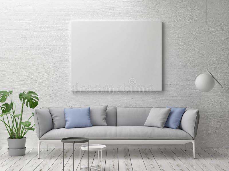 假装海报,与宽沙发的斯堪的纳维亚概念内部 向量例证