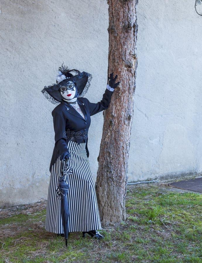 假装的人-阿讷西威尼斯式狂欢节2014年 免版税库存照片