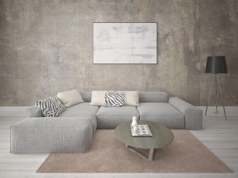 假装的是有一个舒适的壁角沙发的一个完善的客厅 皇族释放例证