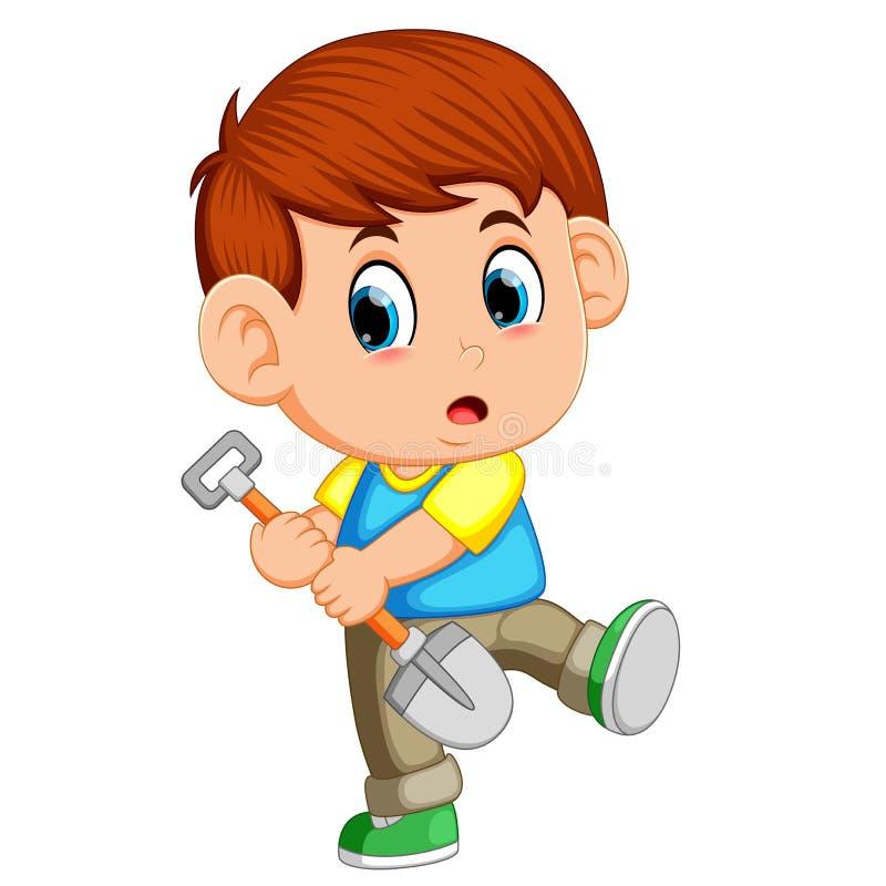 假装的男孩开掘与干净的新的未使用的铁锹 向量例证
