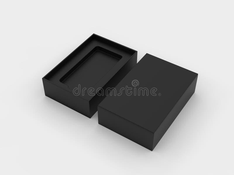 假装空白的流动的箱子包装为烙记和  E 皇族释放例证