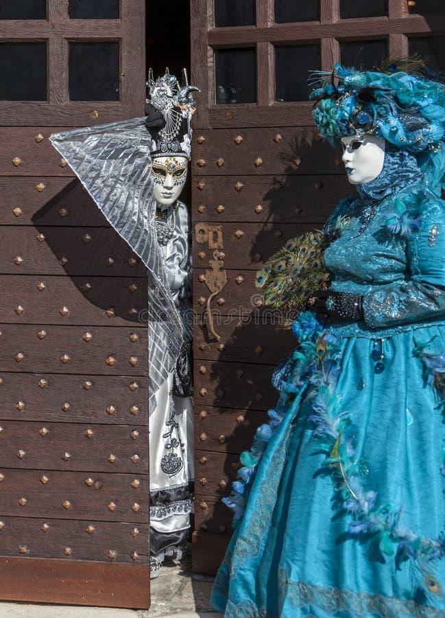 假装结合-阿讷西威尼斯式狂欢节2014年 免版税库存图片