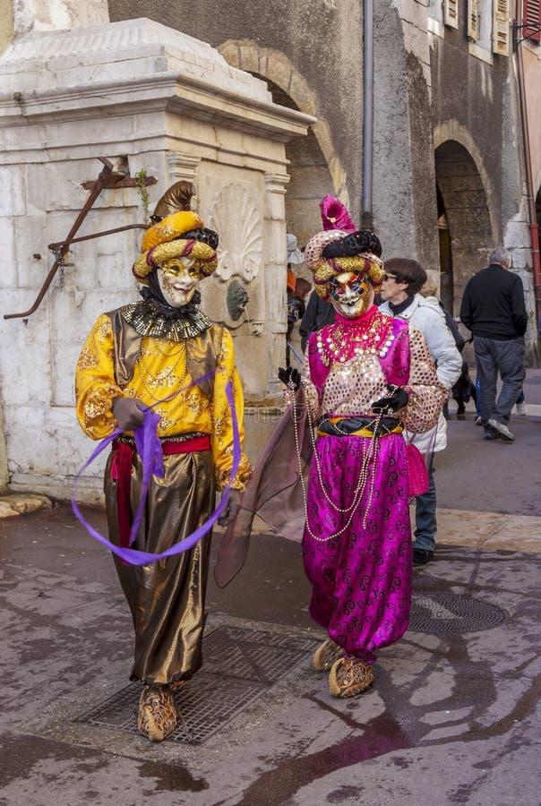 假装结合-阿讷西威尼斯式狂欢节2014年 库存图片