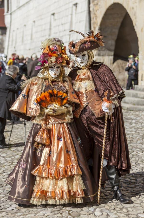 假装结合-阿讷西威尼斯式狂欢节2014年 图库摄影