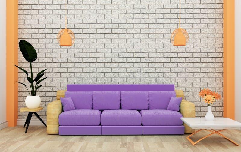 假装顶楼内部嘲笑与沙发和装饰和白色砖墙在木地板上 3d?? 皇族释放例证