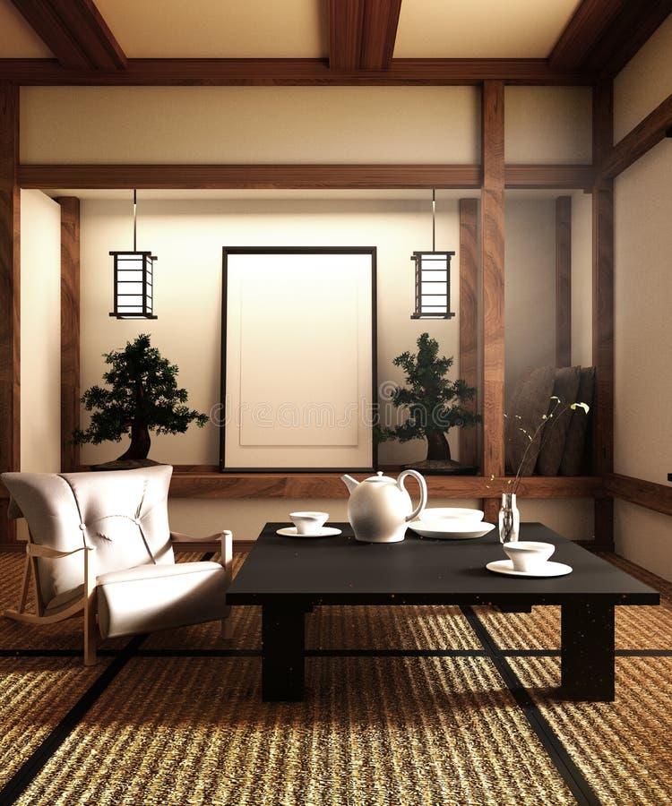 假装,在日本风格,客厅明确地设计了 3d?? 皇族释放例证