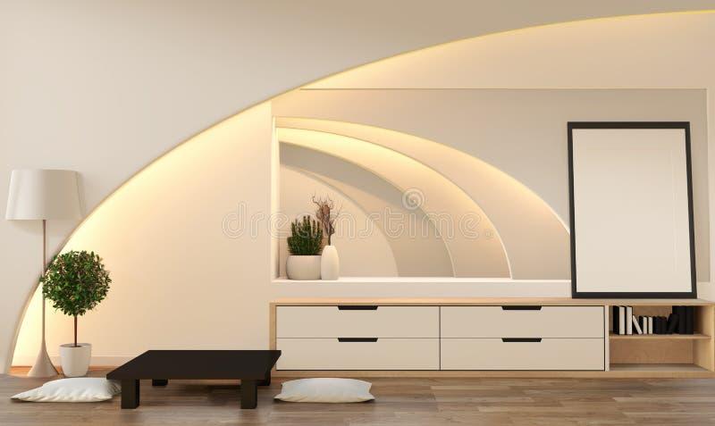 假装uModern禅宗样式客厅 平安和平静的客厅 与东方对象和暗藏的光的装饰 3d?? 皇族释放例证