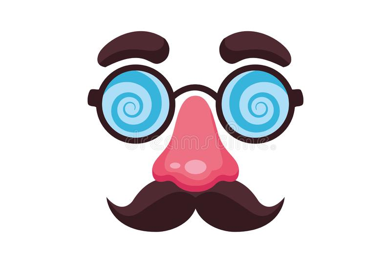 假髭鼻子和玻璃面具 库存例证