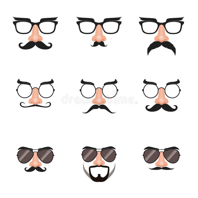 假鼻子和玻璃设置与髭和眼眉 向量例证
