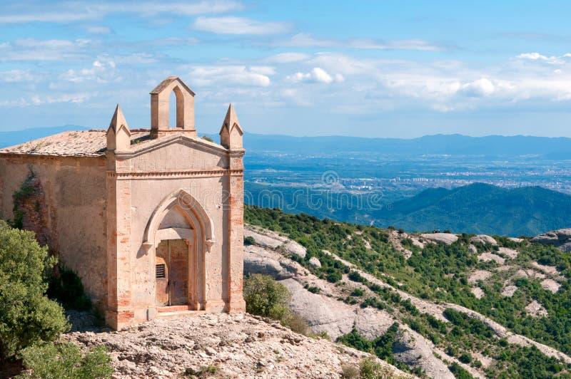 偏僻寺院joan修道院蒙特塞拉特岛圣徒西班牙 库存图片