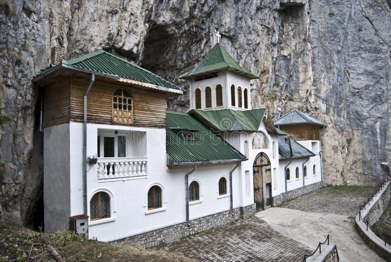 偏僻寺院pestera罗马尼亚 免版税库存照片