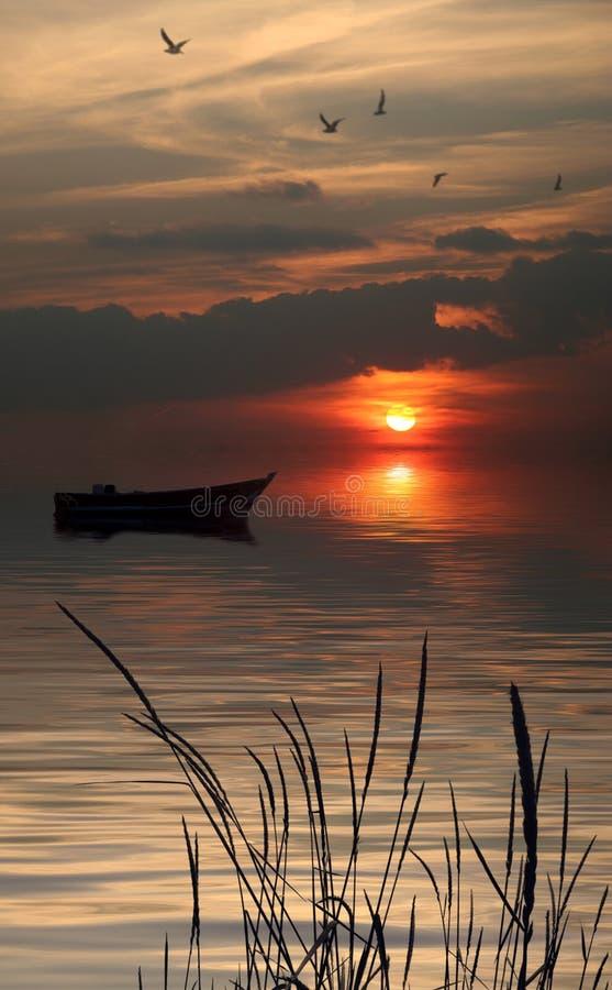 偏僻小船的湖 向量例证