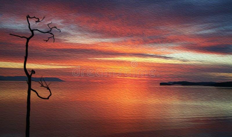 偏僻的干燥树剪影在海湾的在日落,油画纹理  库存例证