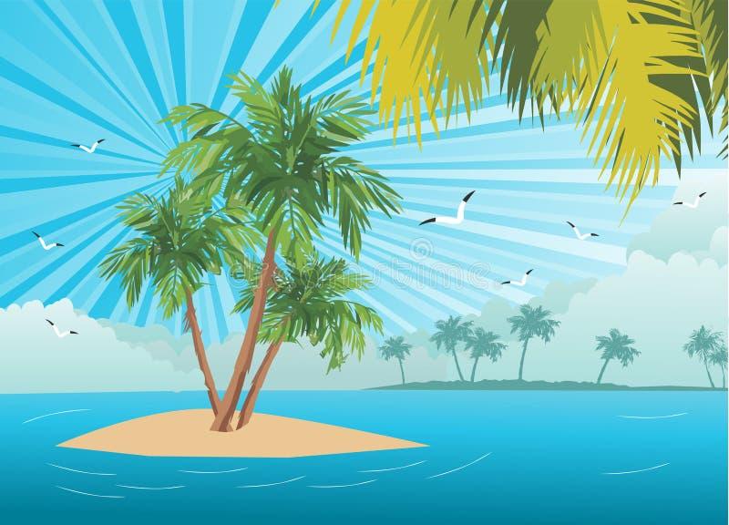 偏僻的棕榈树 皇族释放例证