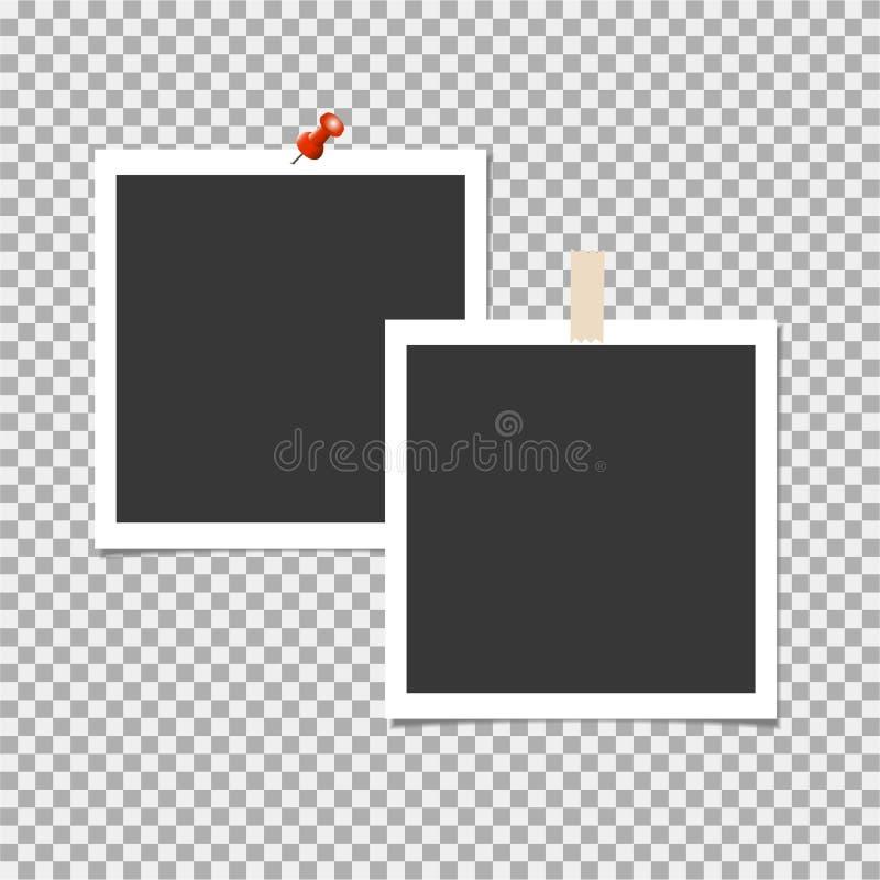 偏正片照片框架与别针和与在灰色背景的稠粘的磁带 传染媒介模板,空白 向量例证