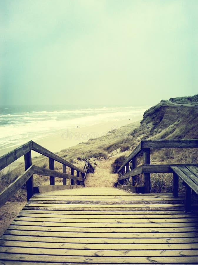 偏僻的小径或木楼梯 免版税库存照片