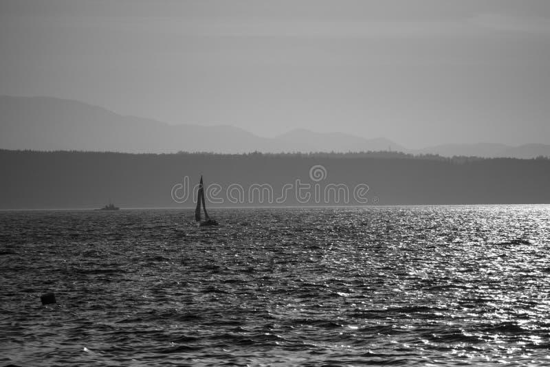 偏僻的小船(灰色极谱) 图库摄影