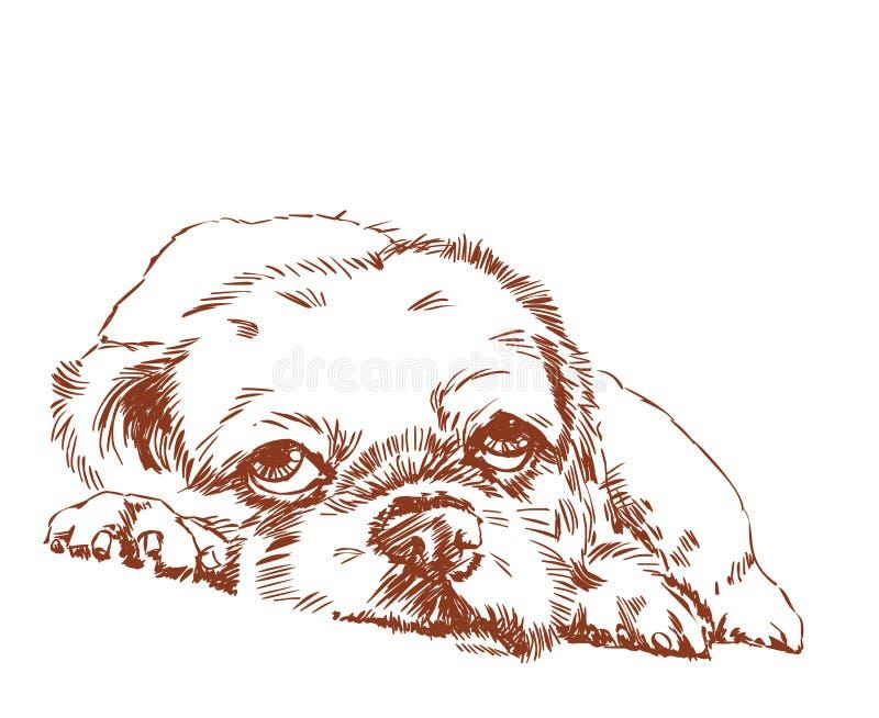 偏僻的狗手图画 向量例证