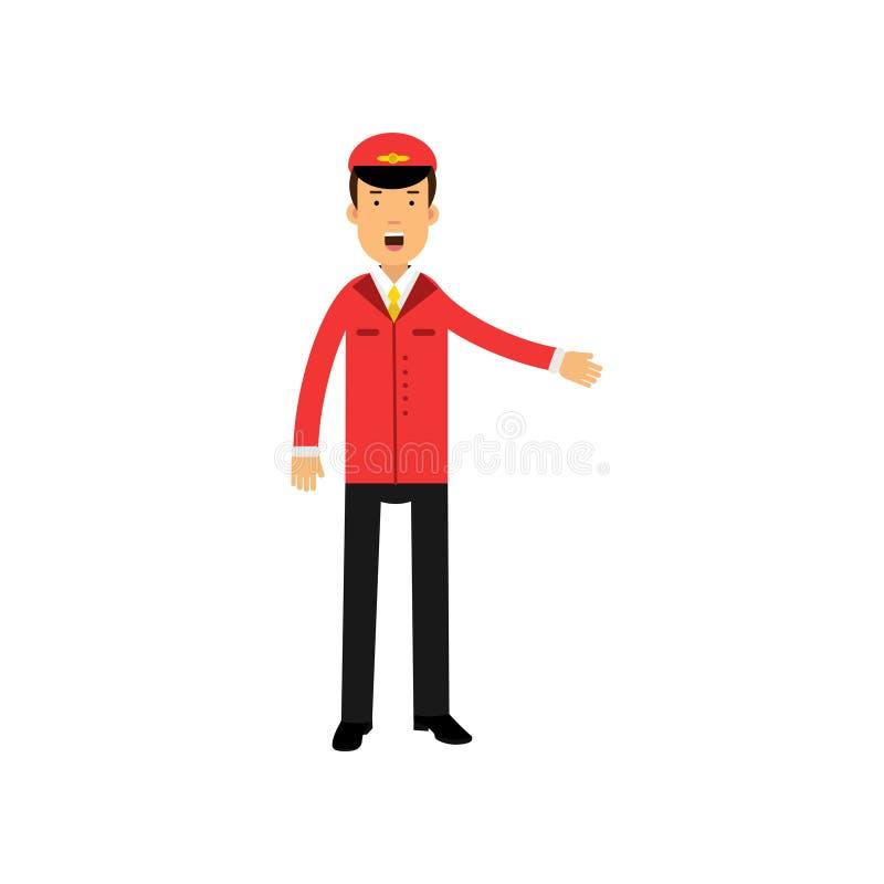 做一个受欢迎的姿态,航空器的红色制服的航空公司飞行员指挥传染媒介例证 库存例证