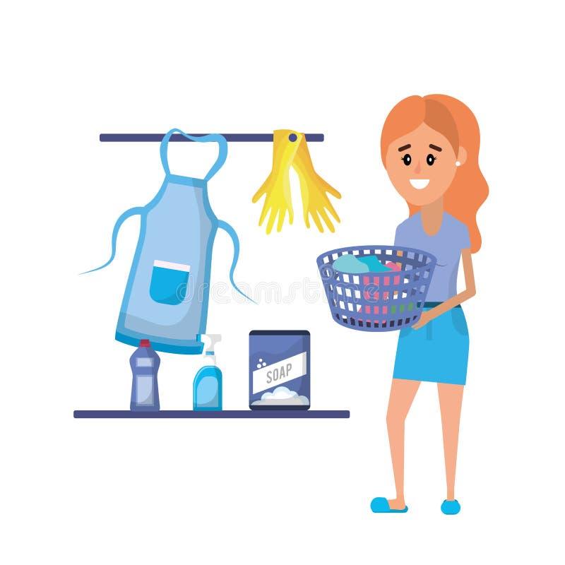 做一个国内工作的洗衣店设备和妇女 皇族释放例证