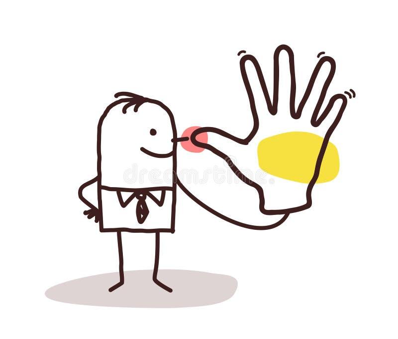 做一个平而短的手标志的动画片人 皇族释放例证