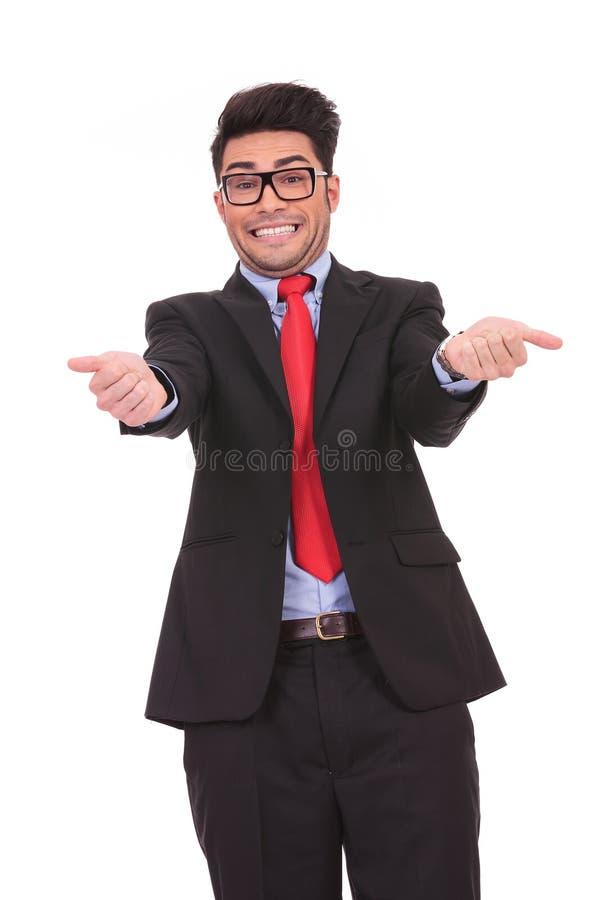 做一个滑稽的表面的商人 免版税库存图片