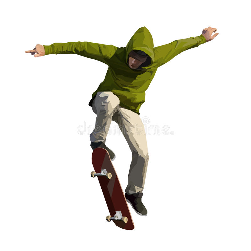 做一个跳跃的把戏的溜冰板者 免版税库存图片