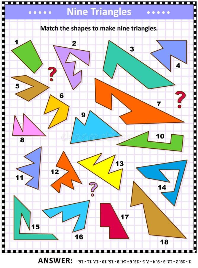 做三角算术图片难题 皇族释放例证