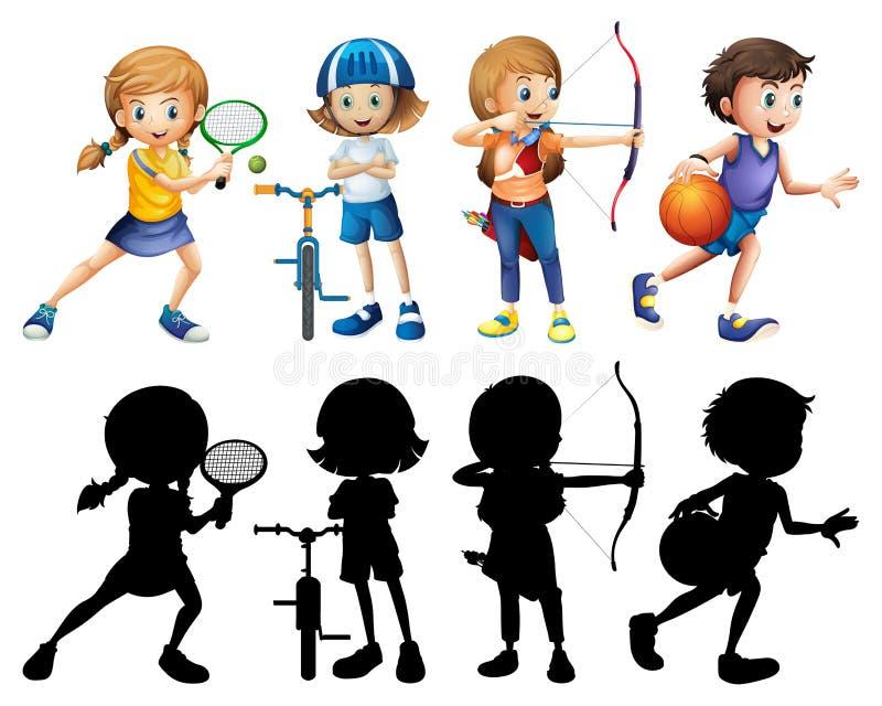 做不同的体育的孩子设置与剪影 皇族释放例证