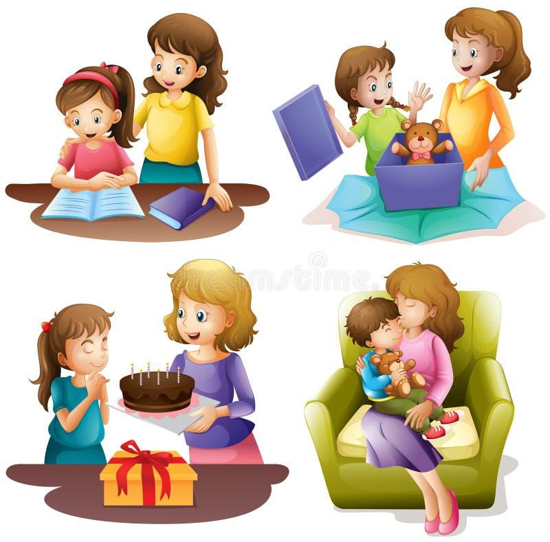 做不同的活动的母亲和孩子 库存例证