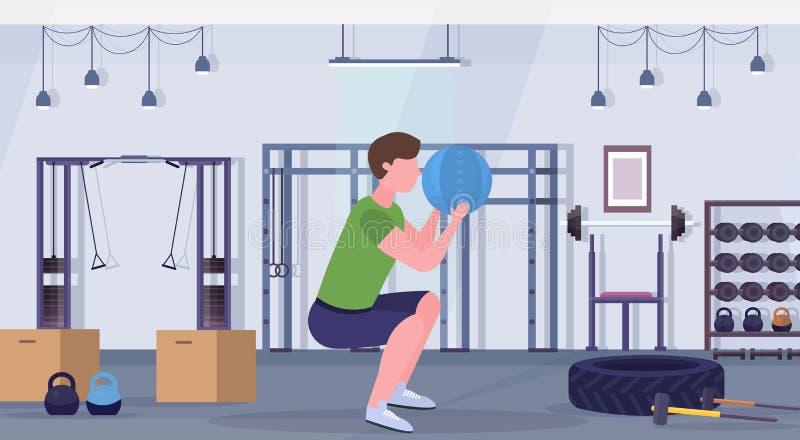 做与医学皮革球人的运动的人蹲坐锻炼训练心脏锻炼概念现代健身房健康 库存例证