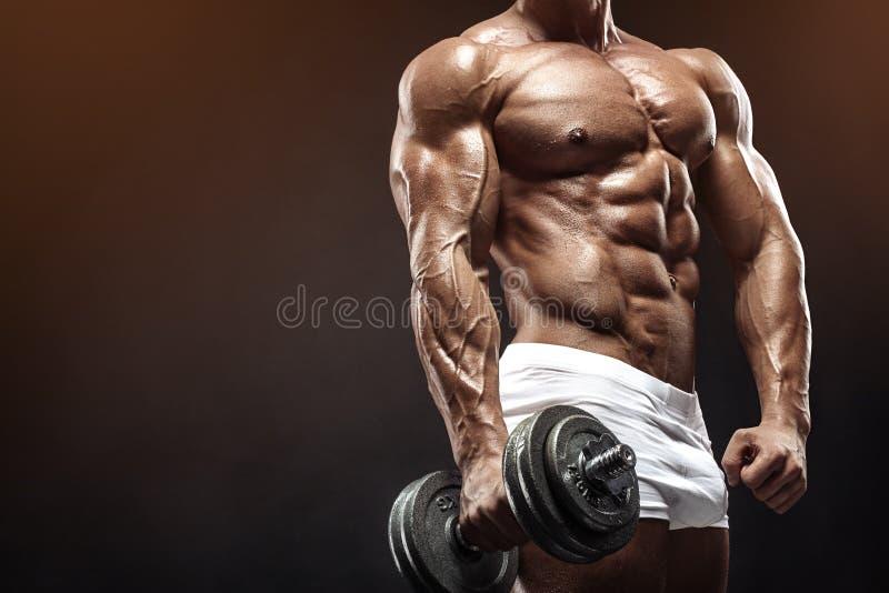 做与哑铃的肌肉爱好健美者人锻炼 免版税库存照片