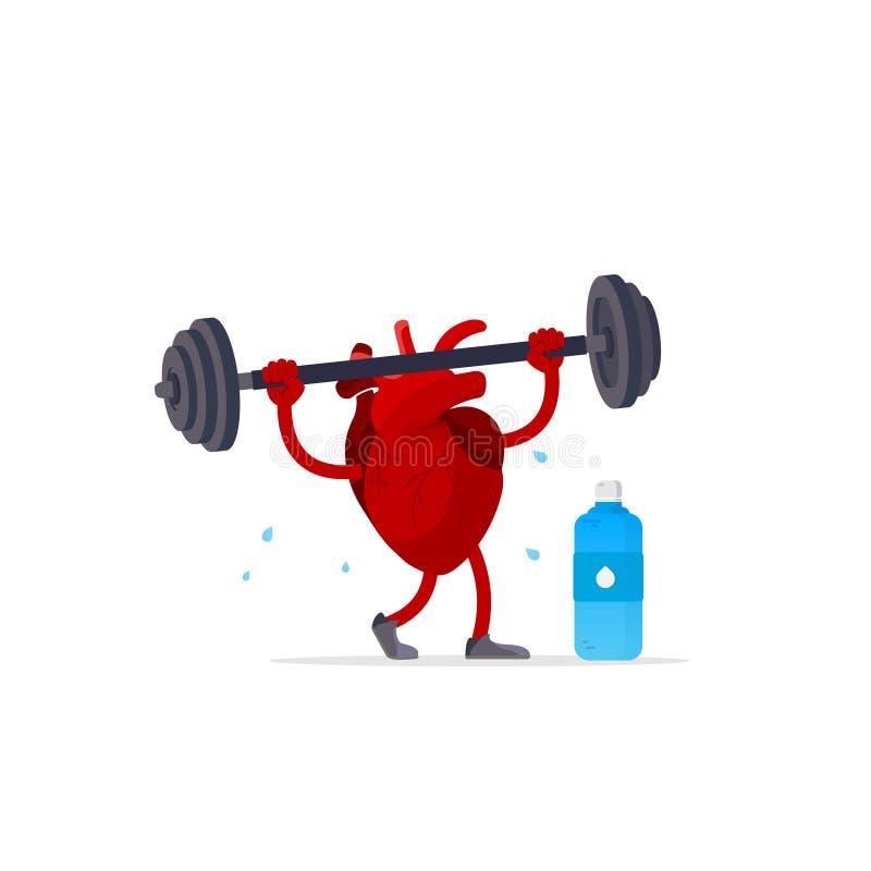 做与哑铃的逗人喜爱的愉快的微笑的心脏器官锻炼 r ?? 库存例证