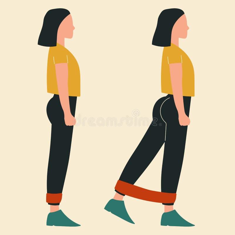 做与带的妇女站立的佣金 glute锻炼和锻炼的例证 r 皇族释放例证