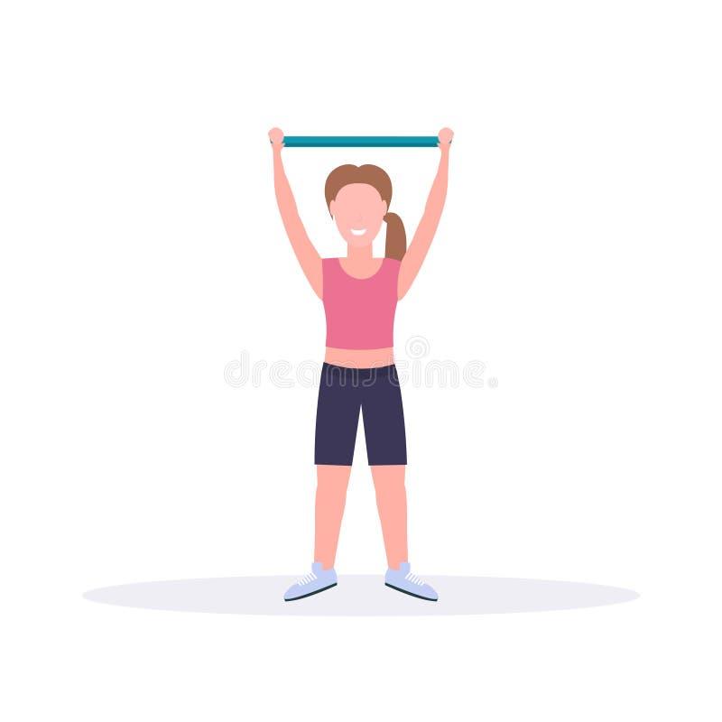 做与抵抗带女孩训练的运动的妇女锻炼在平展舒展锻炼健康生活方式概念的健身房 库存例证