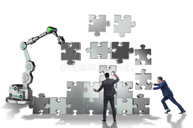 做与机器人胳膊的商人七巧板 免版税库存图片