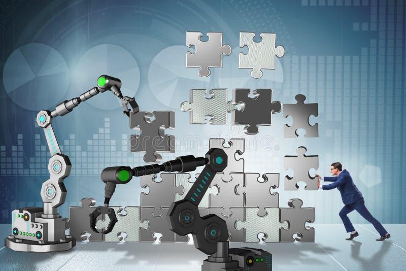 做与机器人胳膊的商人七巧板