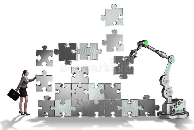 做与机器人胳膊的女实业家七巧板