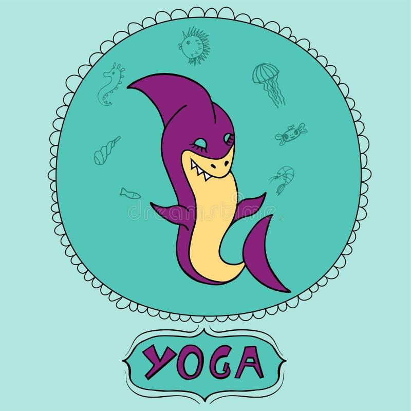 做与海洋动物的伟大的紫色动画片鲨鱼凝思 鲨鱼瑜伽姿势 对于孩子预定,瑜伽演播室,瑜伽类 库存例证