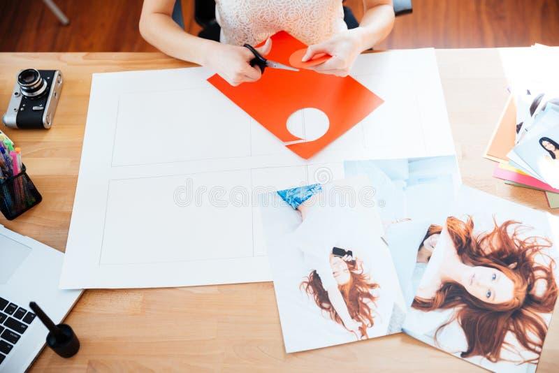 做与照片的妇女摄影师表拼贴画 免版税图库摄影